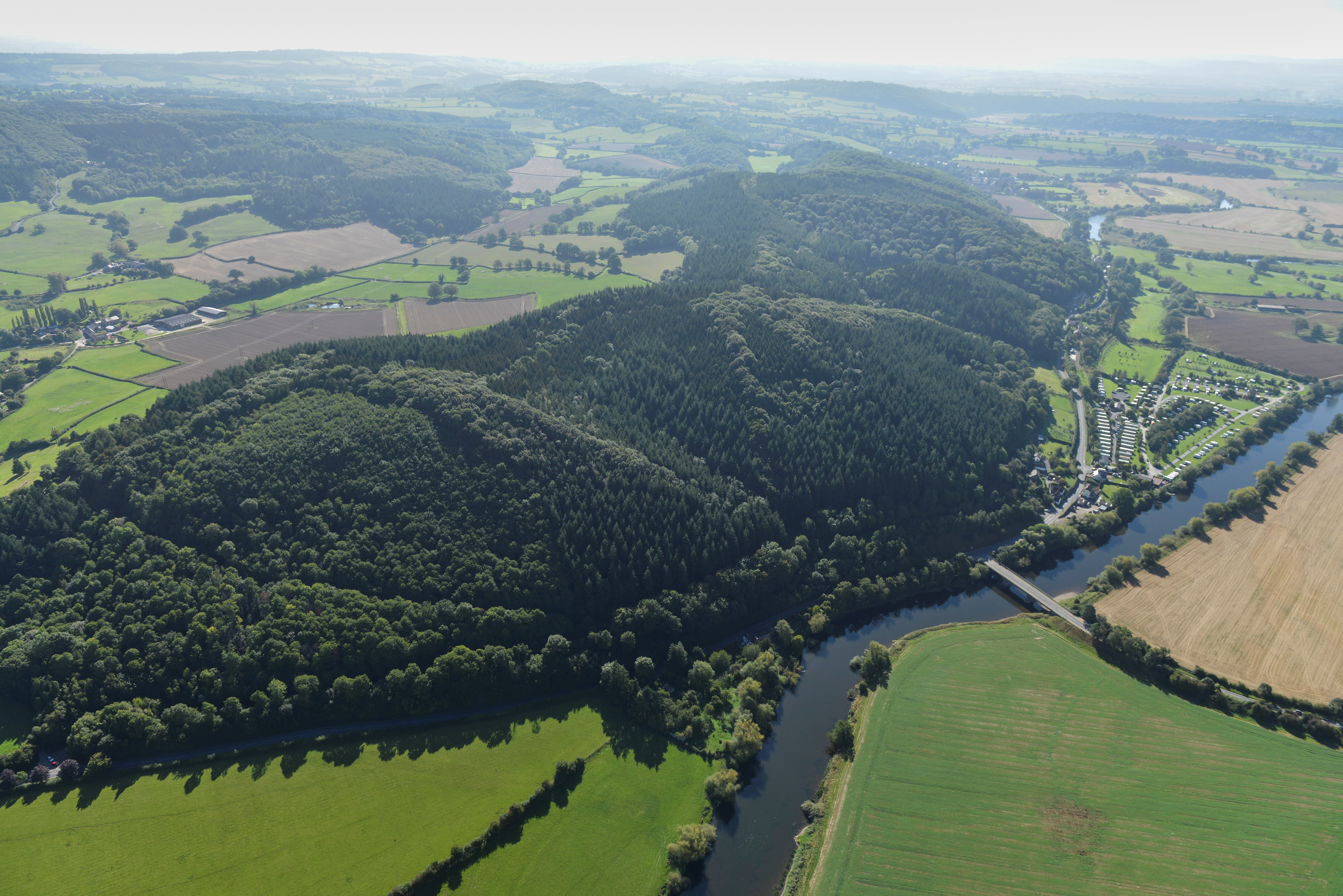 Ariel shot of the River Wye and Lucksall Caravan and Camping park.