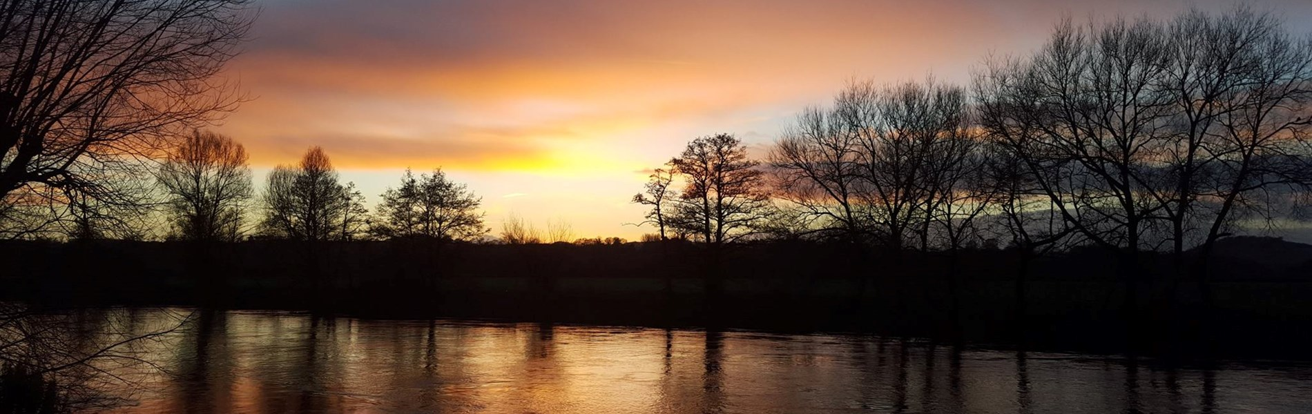 River Wye sunset Lucksall Park